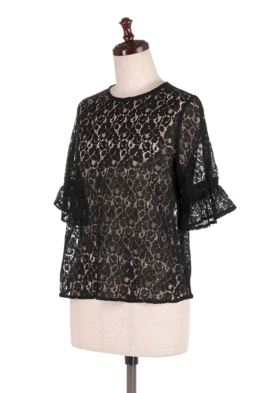 CandySleeveRaschelLaceBlouseキャンディースリーブ・総レースブラウス大人カジュアルに最適な海外ファッションのothers(その他インポートアイテム)のトップスやシャツ・ブラウス。5分袖のキャンディースリーブが可愛い総レースのブラウス。二の腕がちょうど隠れる袖の長さが嬉しいブラウス。/main-11