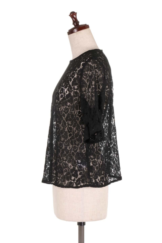 CandySleeveRaschelLaceBlouseキャンディースリーブ・総レースブラウス大人カジュアルに最適な海外ファッションのothers(その他インポートアイテム)のトップスやシャツ・ブラウス。5分袖のキャンディースリーブが可愛い総レースのブラウス。二の腕がちょうど隠れる袖の長さが嬉しいブラウス。/main-12