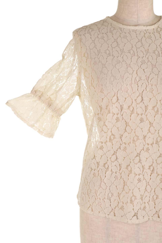 CandySleeveRaschelLaceBlouseキャンディースリーブ・総レースブラウス大人カジュアルに最適な海外ファッションのothers(その他インポートアイテム)のトップスやシャツ・ブラウス。5分袖のキャンディースリーブが可愛い総レースのブラウス。二の腕がちょうど隠れる袖の長さが嬉しいブラウス。/main-18