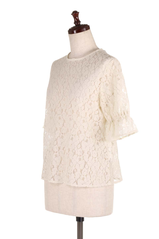 CandySleeveRaschelLaceBlouseキャンディースリーブ・総レースブラウス大人カジュアルに最適な海外ファッションのothers(その他インポートアイテム)のトップスやシャツ・ブラウス。5分袖のキャンディースリーブが可愛い総レースのブラウス。二の腕がちょうど隠れる袖の長さが嬉しいブラウス。/main-6