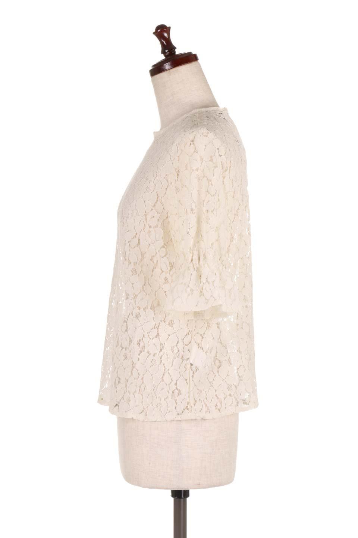 CandySleeveRaschelLaceBlouseキャンディースリーブ・総レースブラウス大人カジュアルに最適な海外ファッションのothers(その他インポートアイテム)のトップスやシャツ・ブラウス。5分袖のキャンディースリーブが可愛い総レースのブラウス。二の腕がちょうど隠れる袖の長さが嬉しいブラウス。/main-7