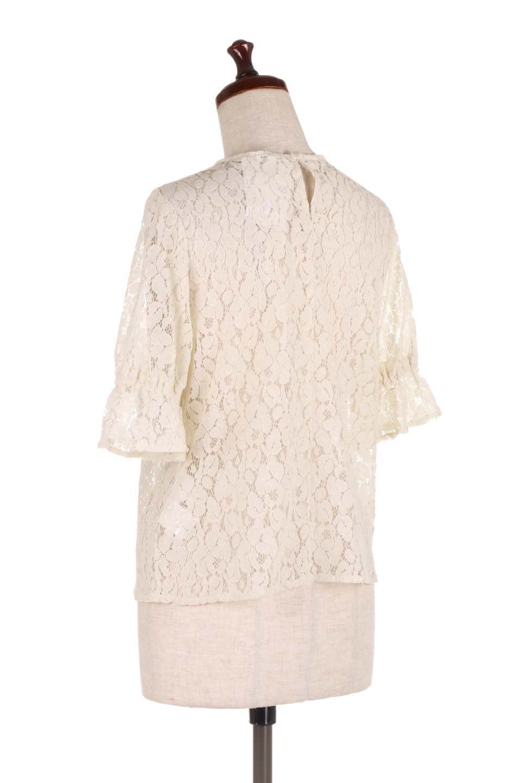 CandySleeveRaschelLaceBlouseキャンディースリーブ・総レースブラウス大人カジュアルに最適な海外ファッションのothers(その他インポートアイテム)のトップスやシャツ・ブラウス。5分袖のキャンディースリーブが可愛い総レースのブラウス。二の腕がちょうど隠れる袖の長さが嬉しいブラウス。/main-8