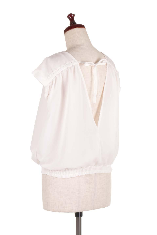 SleevelessOpenBackBlouseノースリーブ・オープンバックブラウス大人カジュアルに最適な海外ファッションのothers(その他インポートアイテム)のトップスやシャツ・ブラウス。背中が開いたオープンバックスタイルのノースリーブブラウス。透け感のある涼しげで大人ぽいアイテムです。/main-8
