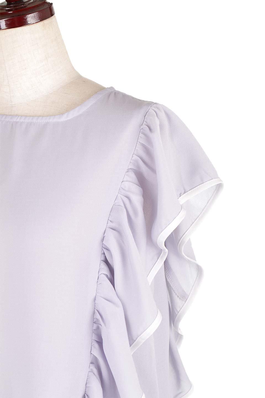 PipingDetailFrilledBlouseパイピング・フリルブラウス大人カジュアルに最適な海外ファッションのothers(その他インポートアイテム)のトップスやシャツ・ブラウス。ダブルジョーゼットの生地を使用したボリュームフリルのノースリーブブラウス。着心地の良いソフトア肌触りとフリルについたパイピングがポイントのブラウス。/main-10