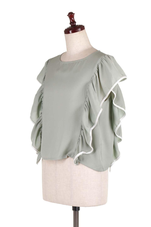 PipingDetailFrilledBlouseパイピング・フリルブラウス大人カジュアルに最適な海外ファッションのothers(その他インポートアイテム)のトップスやシャツ・ブラウス。ダブルジョーゼットの生地を使用したボリュームフリルのノースリーブブラウス。着心地の良いソフトア肌触りとフリルについたパイピングがポイントのブラウス。/main-6