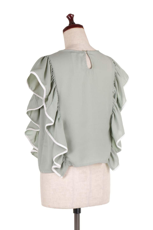 PipingDetailFrilledBlouseパイピング・フリルブラウス大人カジュアルに最適な海外ファッションのothers(その他インポートアイテム)のトップスやシャツ・ブラウス。ダブルジョーゼットの生地を使用したボリュームフリルのノースリーブブラウス。着心地の良いソフトア肌触りとフリルについたパイピングがポイントのブラウス。/main-8