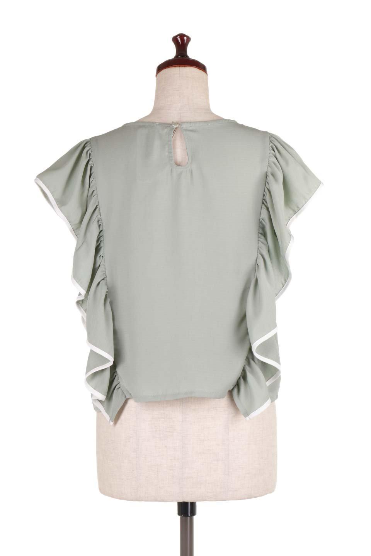 PipingDetailFrilledBlouseパイピング・フリルブラウス大人カジュアルに最適な海外ファッションのothers(その他インポートアイテム)のトップスやシャツ・ブラウス。ダブルジョーゼットの生地を使用したボリュームフリルのノースリーブブラウス。着心地の良いソフトア肌触りとフリルについたパイピングがポイントのブラウス。/main-9