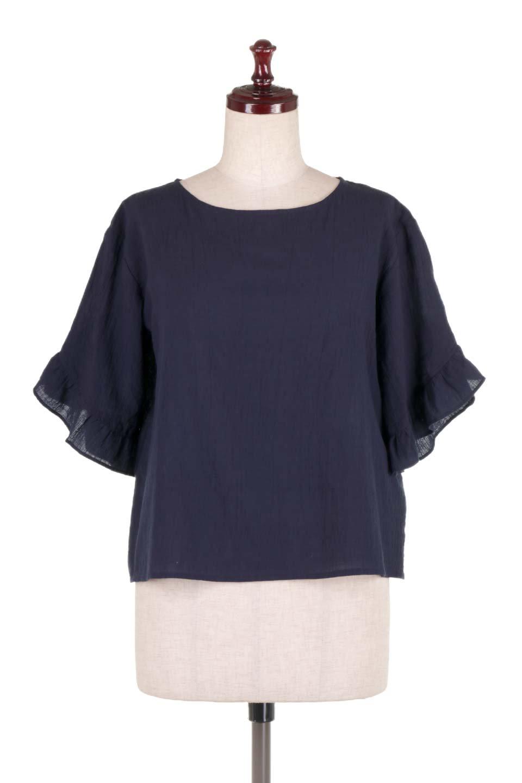 BackFrilledGauzeBlouseバックフリル・ガーゼブラウス大人カジュアルに最適な海外ファッションのothers(その他インポートアイテム)のトップスやシャツ・ブラウス。凹凸感のあるガーゼを使用した5分袖フリルブラウス。夏に最適な楊柳(ようりゅう)ガーゼと言う透け感のあるガーゼ生地を使用。/main-10
