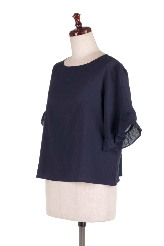 BackFrilledGauzeBlouseバックフリル・ガーゼブラウス大人カジュアルに最適な海外ファッションのothers(その他インポートアイテム)のトップスやシャツ・ブラウス。凹凸感のあるガーゼを使用した5分袖フリルブラウス。夏に最適な楊柳(ようりゅう)ガーゼと言う透け感のあるガーゼ生地を使用。/main-11