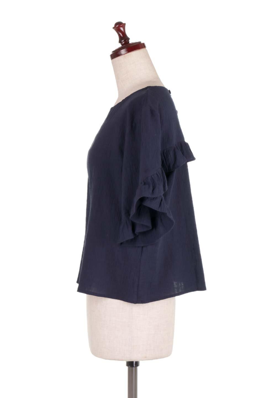 BackFrilledGauzeBlouseバックフリル・ガーゼブラウス大人カジュアルに最適な海外ファッションのothers(その他インポートアイテム)のトップスやシャツ・ブラウス。凹凸感のあるガーゼを使用した5分袖フリルブラウス。夏に最適な楊柳(ようりゅう)ガーゼと言う透け感のあるガーゼ生地を使用。/main-12