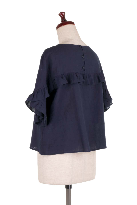 BackFrilledGauzeBlouseバックフリル・ガーゼブラウス大人カジュアルに最適な海外ファッションのothers(その他インポートアイテム)のトップスやシャツ・ブラウス。凹凸感のあるガーゼを使用した5分袖フリルブラウス。夏に最適な楊柳(ようりゅう)ガーゼと言う透け感のあるガーゼ生地を使用。/main-13