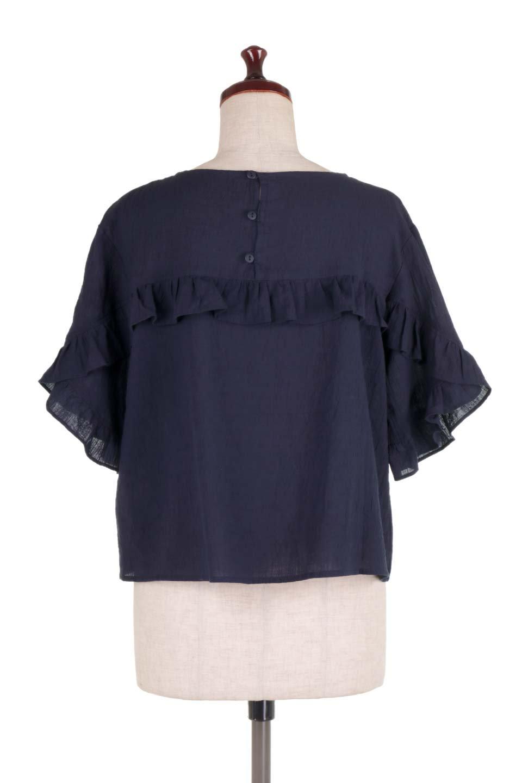 BackFrilledGauzeBlouseバックフリル・ガーゼブラウス大人カジュアルに最適な海外ファッションのothers(その他インポートアイテム)のトップスやシャツ・ブラウス。凹凸感のあるガーゼを使用した5分袖フリルブラウス。夏に最適な楊柳(ようりゅう)ガーゼと言う透け感のあるガーゼ生地を使用。/main-14