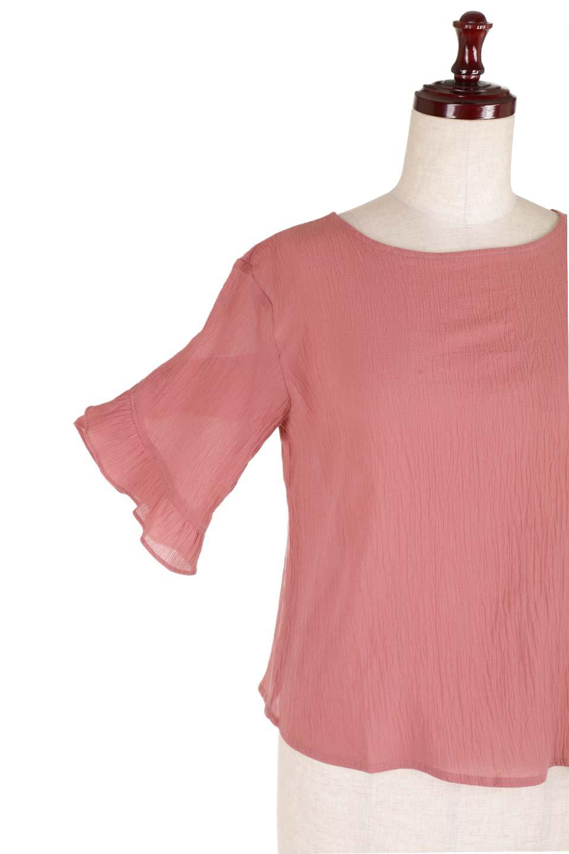 BackFrilledGauzeBlouseバックフリル・ガーゼブラウス大人カジュアルに最適な海外ファッションのothers(その他インポートアイテム)のトップスやシャツ・ブラウス。凹凸感のあるガーゼを使用した5分袖フリルブラウス。夏に最適な楊柳(ようりゅう)ガーゼと言う透け感のあるガーゼ生地を使用。/main-15