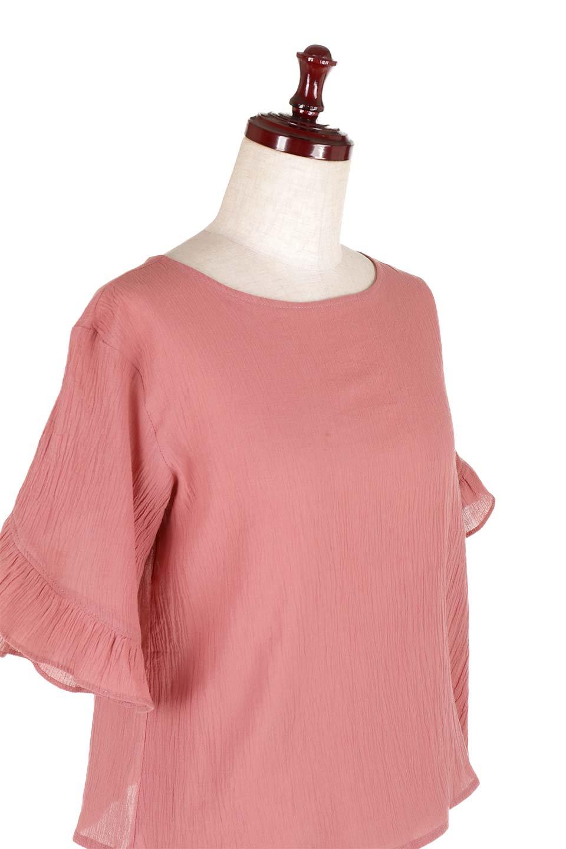 BackFrilledGauzeBlouseバックフリル・ガーゼブラウス大人カジュアルに最適な海外ファッションのothers(その他インポートアイテム)のトップスやシャツ・ブラウス。凹凸感のあるガーゼを使用した5分袖フリルブラウス。夏に最適な楊柳(ようりゅう)ガーゼと言う透け感のあるガーゼ生地を使用。/main-16