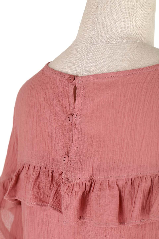 BackFrilledGauzeBlouseバックフリル・ガーゼブラウス大人カジュアルに最適な海外ファッションのothers(その他インポートアイテム)のトップスやシャツ・ブラウス。凹凸感のあるガーゼを使用した5分袖フリルブラウス。夏に最適な楊柳(ようりゅう)ガーゼと言う透け感のあるガーゼ生地を使用。/main-17