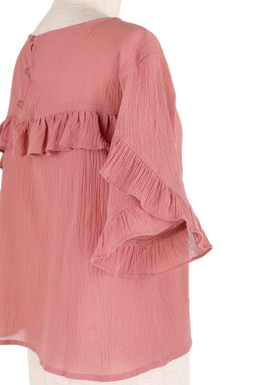 BackFrilledGauzeBlouseバックフリル・ガーゼブラウス大人カジュアルに最適な海外ファッションのothers(その他インポートアイテム)のトップスやシャツ・ブラウス。凹凸感のあるガーゼを使用した5分袖フリルブラウス。夏に最適な楊柳(ようりゅう)ガーゼと言う透け感のあるガーゼ生地を使用。/main-18