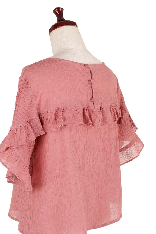 BackFrilledGauzeBlouseバックフリル・ガーゼブラウス大人カジュアルに最適な海外ファッションのothers(その他インポートアイテム)のトップスやシャツ・ブラウス。凹凸感のあるガーゼを使用した5分袖フリルブラウス。夏に最適な楊柳(ようりゅう)ガーゼと言う透け感のあるガーゼ生地を使用。/main-19
