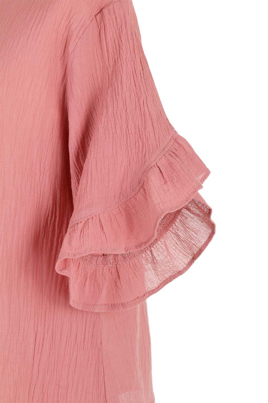 BackFrilledGauzeBlouseバックフリル・ガーゼブラウス大人カジュアルに最適な海外ファッションのothers(その他インポートアイテム)のトップスやシャツ・ブラウス。凹凸感のあるガーゼを使用した5分袖フリルブラウス。夏に最適な楊柳(ようりゅう)ガーゼと言う透け感のあるガーゼ生地を使用。/main-20