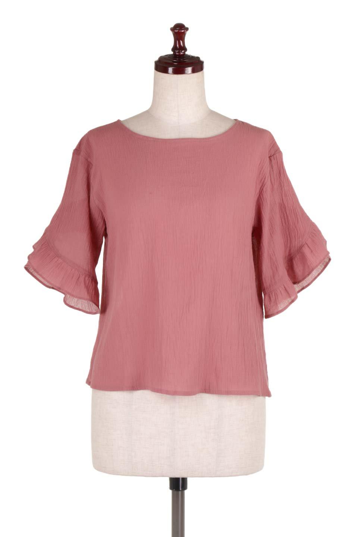 BackFrilledGauzeBlouseバックフリル・ガーゼブラウス大人カジュアルに最適な海外ファッションのothers(その他インポートアイテム)のトップスやシャツ・ブラウス。凹凸感のあるガーゼを使用した5分袖フリルブラウス。夏に最適な楊柳(ようりゅう)ガーゼと言う透け感のあるガーゼ生地を使用。/main-5