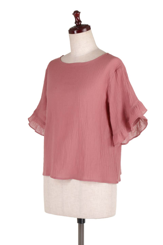 BackFrilledGauzeBlouseバックフリル・ガーゼブラウス大人カジュアルに最適な海外ファッションのothers(その他インポートアイテム)のトップスやシャツ・ブラウス。凹凸感のあるガーゼを使用した5分袖フリルブラウス。夏に最適な楊柳(ようりゅう)ガーゼと言う透け感のあるガーゼ生地を使用。/main-6