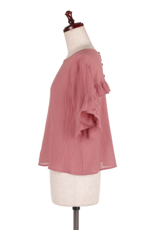 BackFrilledGauzeBlouseバックフリル・ガーゼブラウス大人カジュアルに最適な海外ファッションのothers(その他インポートアイテム)のトップスやシャツ・ブラウス。凹凸感のあるガーゼを使用した5分袖フリルブラウス。夏に最適な楊柳(ようりゅう)ガーゼと言う透け感のあるガーゼ生地を使用。/main-7