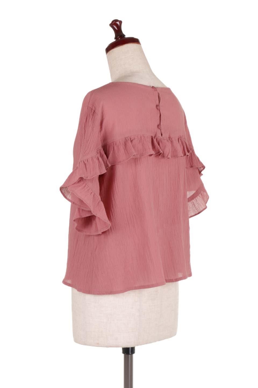 BackFrilledGauzeBlouseバックフリル・ガーゼブラウス大人カジュアルに最適な海外ファッションのothers(その他インポートアイテム)のトップスやシャツ・ブラウス。凹凸感のあるガーゼを使用した5分袖フリルブラウス。夏に最適な楊柳(ようりゅう)ガーゼと言う透け感のあるガーゼ生地を使用。/main-8