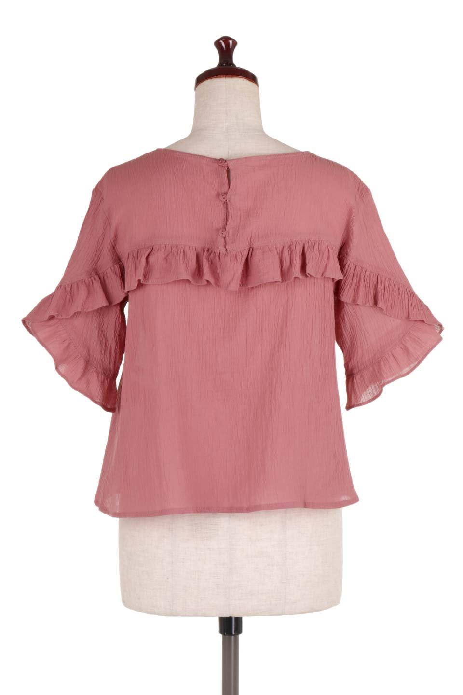 BackFrilledGauzeBlouseバックフリル・ガーゼブラウス大人カジュアルに最適な海外ファッションのothers(その他インポートアイテム)のトップスやシャツ・ブラウス。凹凸感のあるガーゼを使用した5分袖フリルブラウス。夏に最適な楊柳(ようりゅう)ガーゼと言う透け感のあるガーゼ生地を使用。/main-9