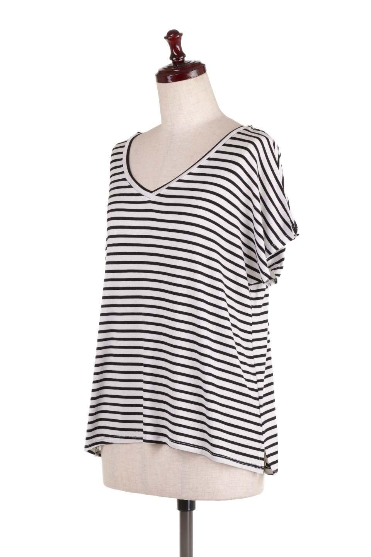L.A.直輸入のClassicDolmanStrechStripeTeeドルマンスリーブ・VネックボーダーTシャツ大人カジュアルに最適な海外ファッションのothers(その他インポートアイテム)のトップスやTシャツ。定番シルエットでしかもストレッチの効いたリラックスボーダーTee。大人気の無地Teeのボーダーバージョンです。/main-1