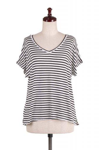 L.A.直輸入のClassic Dolman Strech Stripe Tee ドルマンスリーブ・VネックボーダーTシャツ  / 大人カジュアルに最適な海外ファッションが得意な福島市のセレクトショップbloom
