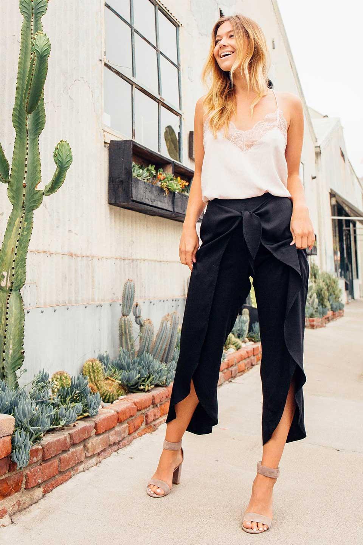 LOVESTITCHのHartleyPantチューリップレッグパンツ/海外ファッションが好きな大人カジュアルのためのLOVESTITCH(ラブステッチ)のボトムやパンツ。巻きスカートの様なディテールが可愛いチューリップレッグのパンツ。夏でも暑苦しくないヒラヒラがポイントのパンツです。/main-5
