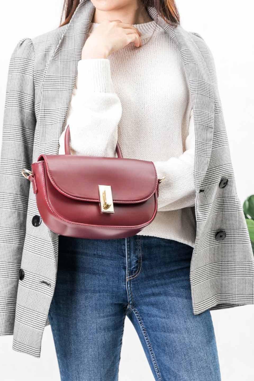 meliebiancoのAlba(Burgundy)/海外ファッション好きにオススメのインポートバッグとかばん、MelieBianco(メリービアンコ)のバッグやショルダーバッグ。高級感のあるセミグロスのビーガンレザーを使用した2Wayハンドバッグ。しっとりとしたツヤ感がとても素敵なバッグです。/main-7