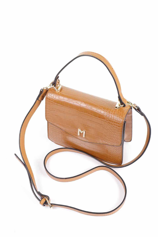 meliebiancoのLena(Saddle)/海外ファッション好きにオススメのインポートバッグとかばん、MelieBianco(メリービアンコ)のバッグやハンドバッグ。クロコダイルの型押しで高級感があるミニハンドバッグ。なめらかな艶感と硬めの質感でまるで本物の様なビーガンレザーを使用しています。/main-10