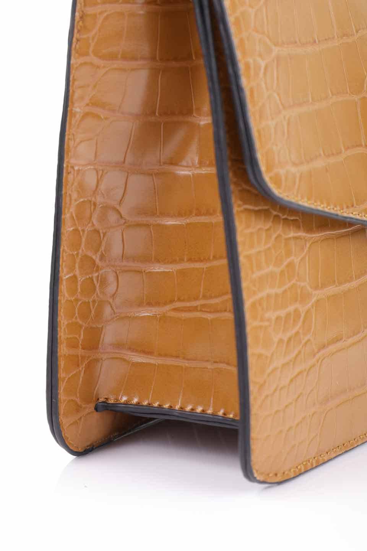 meliebiancoのLena(Saddle)/海外ファッション好きにオススメのインポートバッグとかばん、MelieBianco(メリービアンコ)のバッグやハンドバッグ。クロコダイルの型押しで高級感があるミニハンドバッグ。なめらかな艶感と硬めの質感でまるで本物の様なビーガンレザーを使用しています。/main-13