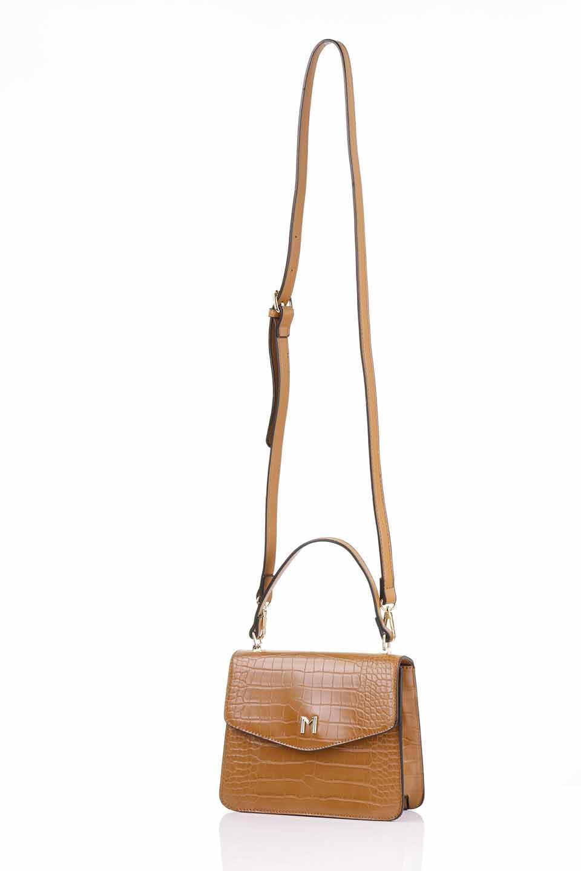 meliebiancoのLena(Saddle)/海外ファッション好きにオススメのインポートバッグとかばん、MelieBianco(メリービアンコ)のバッグやハンドバッグ。クロコダイルの型押しで高級感があるミニハンドバッグ。なめらかな艶感と硬めの質感でまるで本物の様なビーガンレザーを使用しています。/main-7