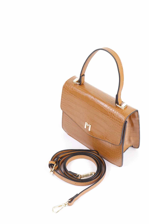 meliebiancoのLena(Saddle)/海外ファッション好きにオススメのインポートバッグとかばん、MelieBianco(メリービアンコ)のバッグやハンドバッグ。クロコダイルの型押しで高級感があるミニハンドバッグ。なめらかな艶感と硬めの質感でまるで本物の様なビーガンレザーを使用しています。/main-9