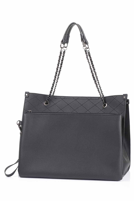 meliebiancoのNova(Black)/海外ファッション好きにオススメのインポートバッグとかばん、MelieBianco(メリービアンコ)のバッグやトートバッグ。メリービアンコのプレミアムビーガンレザーにキルティングのようなステッチを施したボディが可愛いトートバッグ。シンプルなボディにゴールドチェーンの持ち手がアクセントになった大人っぽいバッグです。/main-13