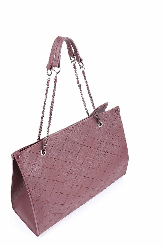 meliebiancoのNova(Burgundy)/海外ファッション好きにオススメのインポートバッグとかばん、MelieBianco(メリービアンコ)のバッグやトートバッグ。メリービアンコのプレミアムビーガンレザーにキルティングのようなステッチを施したボディが可愛いトートバッグ。シンプルなボディにゴールドチェーンの持ち手がアクセントになった大人っぽいバッグです。/main-10