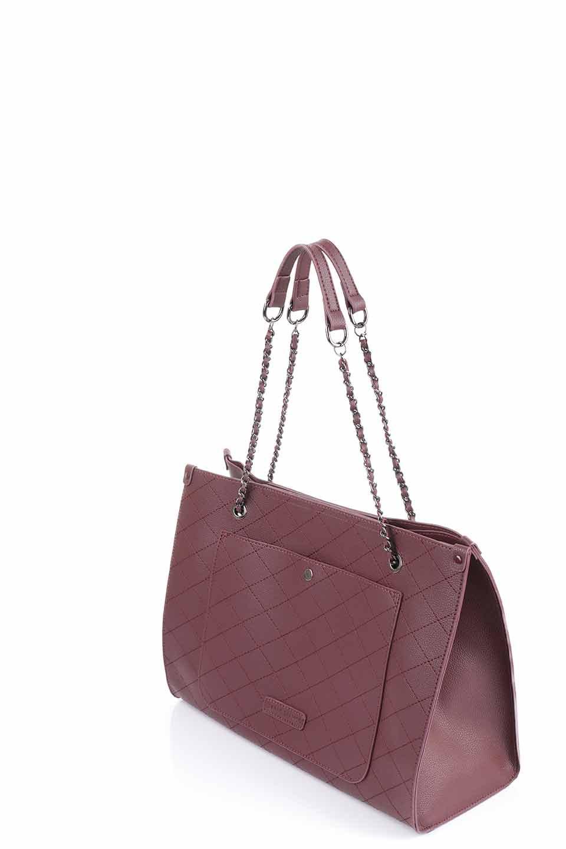 meliebiancoのNova(Burgundy)/海外ファッション好きにオススメのインポートバッグとかばん、MelieBianco(メリービアンコ)のバッグやトートバッグ。メリービアンコのプレミアムビーガンレザーにキルティングのようなステッチを施したボディが可愛いトートバッグ。シンプルなボディにゴールドチェーンの持ち手がアクセントになった大人っぽいバッグです。/main-11