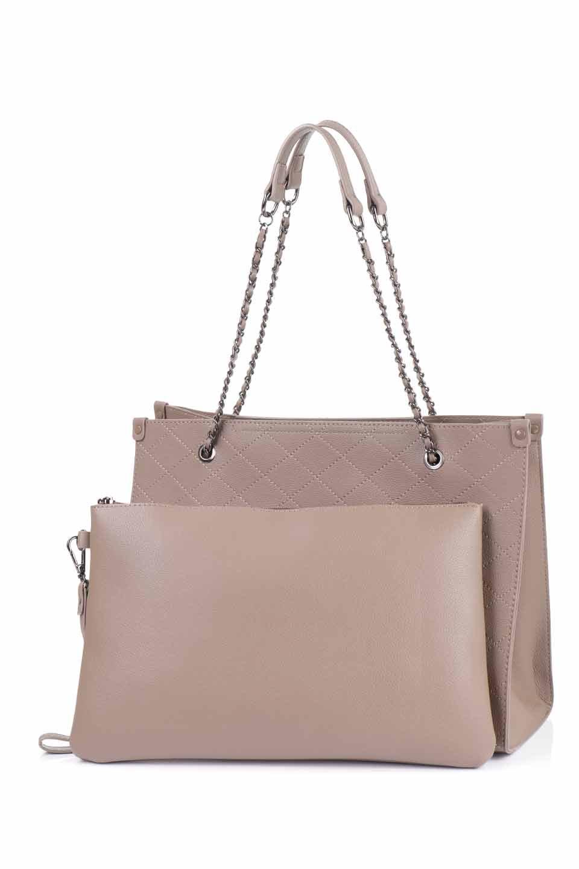 meliebiancoのNova(Taupe)/海外ファッション好きにオススメのインポートバッグとかばん、MelieBianco(メリービアンコ)のバッグやトートバッグ。メリービアンコのプレミアムビーガンレザーにキルティングのようなステッチを施したボディが可愛いトートバッグ。シンプルなボディにゴールドチェーンの持ち手がアクセントになった大人っぽいバッグです。/main-12