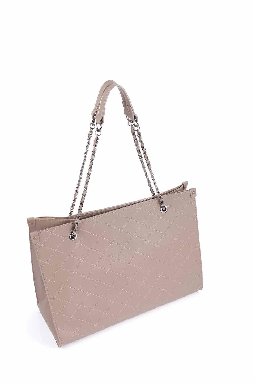 meliebiancoのNova(Taupe)/海外ファッション好きにオススメのインポートバッグとかばん、MelieBianco(メリービアンコ)のバッグやトートバッグ。メリービアンコのプレミアムビーガンレザーにキルティングのようなステッチを施したボディが可愛いトートバッグ。シンプルなボディにゴールドチェーンの持ち手がアクセントになった大人っぽいバッグです。/main-9