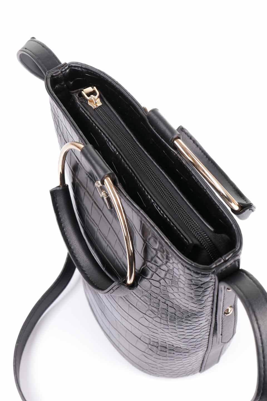 meliebiancoのStella(Black)/海外ファッション好きにオススメのインポートバッグとかばん、MelieBianco(メリービアンコ)のバッグやショルダーバッグ。以前大人気だったバケツ型バッグのステラをクロコダイルの型押しでアップデート。程よい大きさや使い勝手の良さはそのままに上品なカジュアル感がアップしました。/main-19