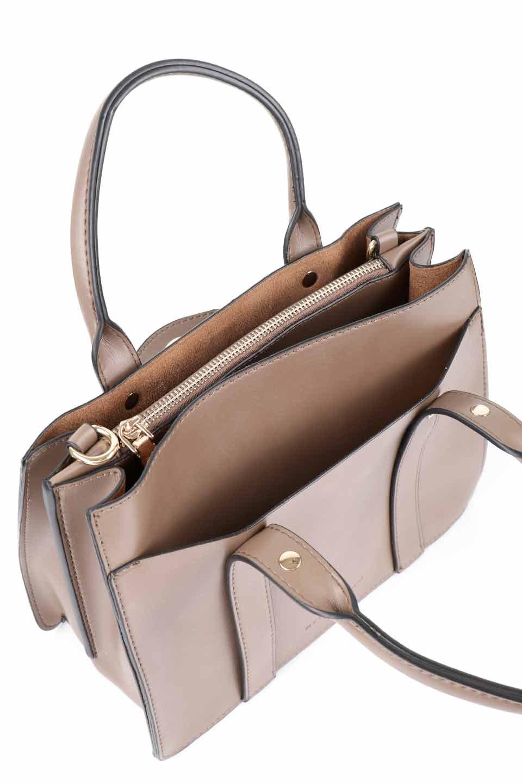 meliebiancoのKhloe(Taupe)/海外ファッション好きにオススメのインポートバッグとかばん、MelieBianco(メリービアンコ)のバッグやハンドバッグ。クラシカルなスタイルの2Wayハンドバッグ。広い荷室を分ける仕切りがファスナー付きのポケットで使いやすい工夫が施されたバッグです。/main-13