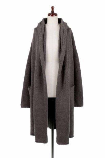海外ファッション好きのためのカリフォルニアテイストの大人カジュアルインポートブランドLOVESTITCH(ラブステッチ)のLennox Sweater Coat (Military) フード付きロングニットカーディガン
