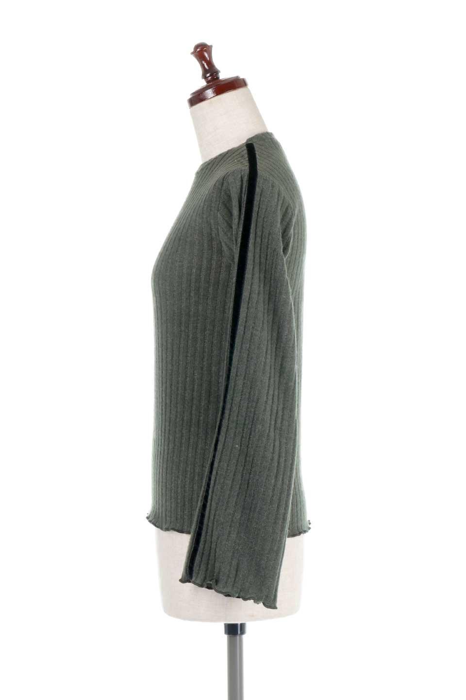 VelvetLinedFlareSleeveKnitTopベロアライン・起毛リブニット大人カジュアルに最適な海外ファッションのothers(その他インポートアイテム)のトップスやニット・セーター。薄っすらと起毛されたリブニットを使用したトップス。スッキリとしたボディにややゆとりのあるフレアスリーブが特徴。/main-12