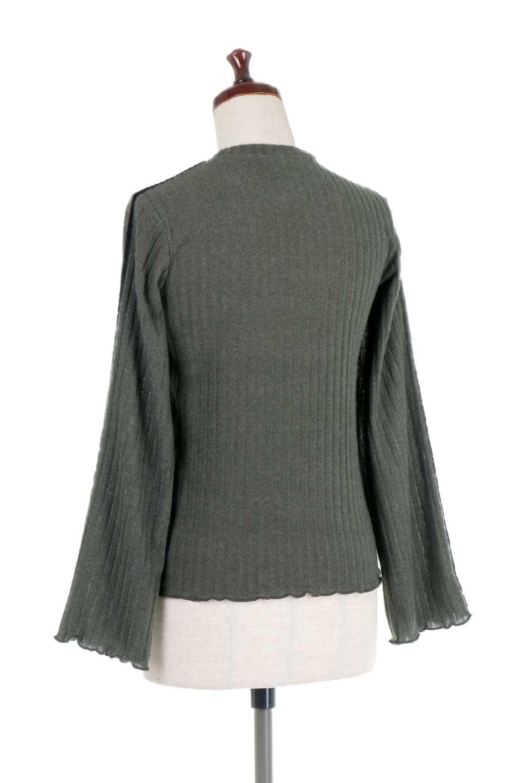VelvetLinedFlareSleeveKnitTopベロアライン・起毛リブニット大人カジュアルに最適な海外ファッションのothers(その他インポートアイテム)のトップスやニット・セーター。薄っすらと起毛されたリブニットを使用したトップス。スッキリとしたボディにややゆとりのあるフレアスリーブが特徴。/main-13