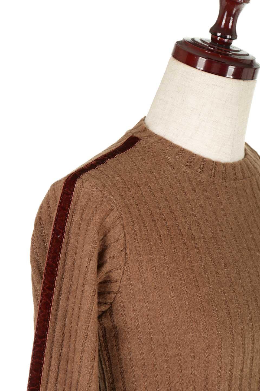 VelvetLinedFlareSleeveKnitTopベロアライン・起毛リブニット大人カジュアルに最適な海外ファッションのothers(その他インポートアイテム)のトップスやニット・セーター。薄っすらと起毛されたリブニットを使用したトップス。スッキリとしたボディにややゆとりのあるフレアスリーブが特徴。/main-20
