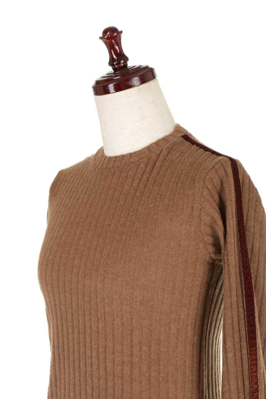 VelvetLinedFlareSleeveKnitTopベロアライン・起毛リブニット大人カジュアルに最適な海外ファッションのothers(その他インポートアイテム)のトップスやニット・セーター。薄っすらと起毛されたリブニットを使用したトップス。スッキリとしたボディにややゆとりのあるフレアスリーブが特徴。/main-22