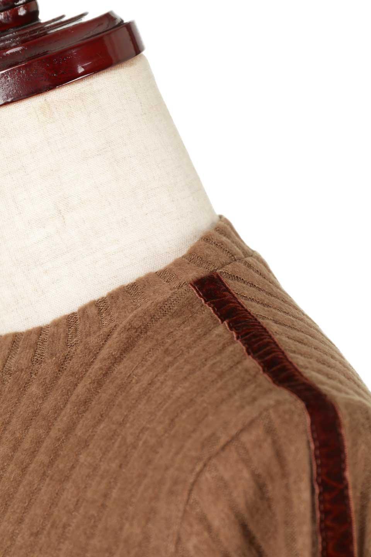 VelvetLinedFlareSleeveKnitTopベロアライン・起毛リブニット大人カジュアルに最適な海外ファッションのothers(その他インポートアイテム)のトップスやニット・セーター。薄っすらと起毛されたリブニットを使用したトップス。スッキリとしたボディにややゆとりのあるフレアスリーブが特徴。/main-25