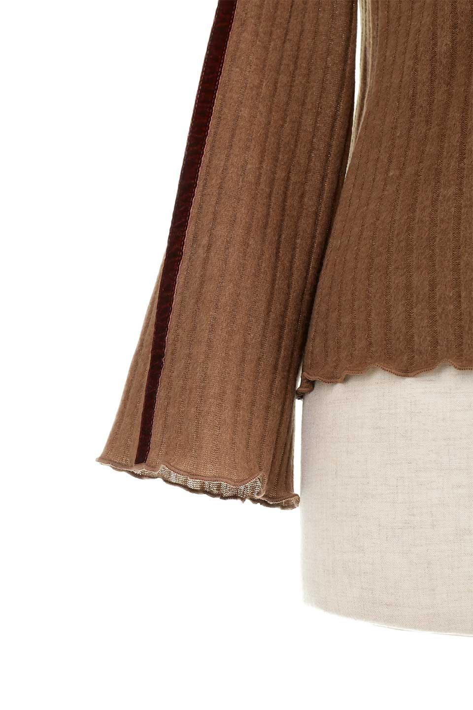 VelvetLinedFlareSleeveKnitTopベロアライン・起毛リブニット大人カジュアルに最適な海外ファッションのothers(その他インポートアイテム)のトップスやニット・セーター。薄っすらと起毛されたリブニットを使用したトップス。スッキリとしたボディにややゆとりのあるフレアスリーブが特徴。/main-28