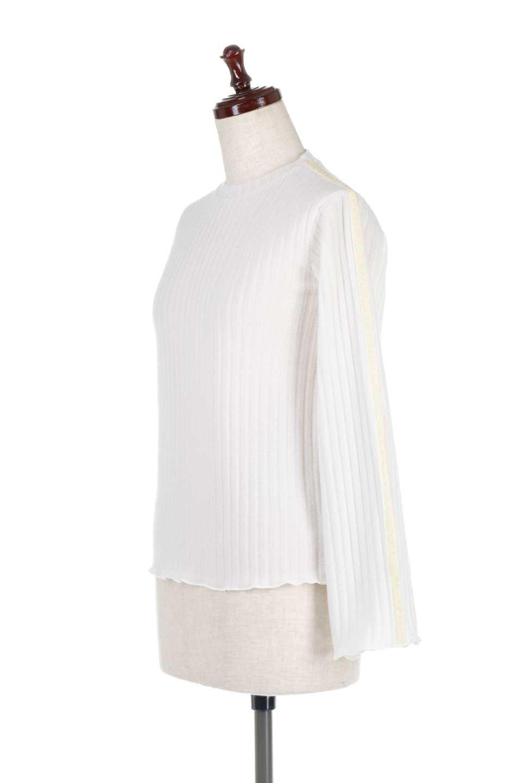 VelvetLinedFlareSleeveKnitTopベロアライン・起毛リブニット大人カジュアルに最適な海外ファッションのothers(その他インポートアイテム)のトップスやニット・セーター。薄っすらと起毛されたリブニットを使用したトップス。スッキリとしたボディにややゆとりのあるフレアスリーブが特徴。/main-6